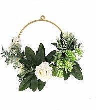 wuayi 15.7 inch Artificial Camellia Rose Wreath,