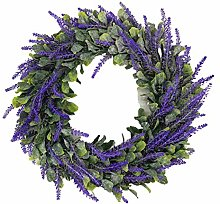 wuayi Spring Wreath, Front Door Simulation Green