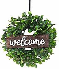 wuayi Welcome Door Hanger, Green Wreath Wooden