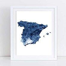 WuChao丶Store Spain Map Poster Print Wall Art