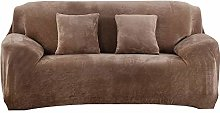 WUCHONGSHUAI Couch Cover,Camel Solid Color Plush