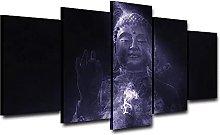 WUHUAGUO 5 Panel Wall Art Buddha Print On Canvas