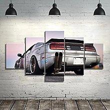 WUHUAGUO 5 Panel Wall Art Car Print On Canvas