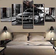 WUHUAGUO 5 Panel Wall Art Car Wall Art Print On