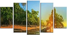 WUHUAGUO 5 Panel Wall Art Forest Pictures Print On