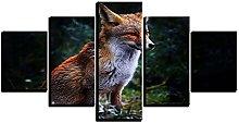 WUHUAGUO 5 Panel Wall Art Fox Print On Canvas