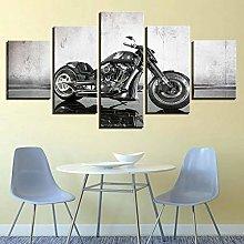 WUHUAGUO 5 Panel Wall Art Motorcycle Print On