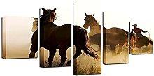WUHUAGUO 5 Panel Wall Art Mustang Print On Canvas