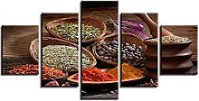 WUHUAGUO 5 Panel Wall Art Pictures Spices Print On