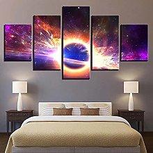 WUHUAGUO 5 Panel Wall Art Planet Print On Canvas