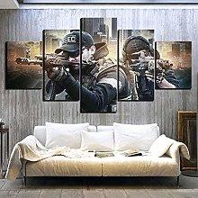 WUHUAGUO 5 Panel Wall Art Soldier Gunfight Assault