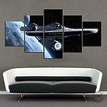 WUHUAGUO 5 Panel Wall Art Spacecraft Print On
