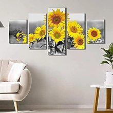 WUHUAGUO 5 Panel Wall Art Sunflowers Art Print On