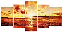 WUHUAGUO 5 Panel Wall Art Sunset Sunset Print On