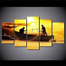 WUHUAGUO 5 Panel Wall Art The Fisherman Print On