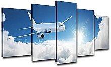 WUHUAGUO Canvas Print Wall Art Aircraft Flying