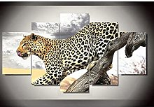 WUHUAGUO Canvas Print Wall Art Animal Leopard For