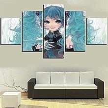 WUHUAGUO Canvas Print Wall Art Girl With Blue Hair