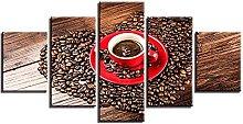 WUHUAGUO Canvas Print Wall Art Red Coffee Mug For