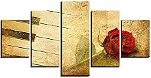 WUHUAGUO Canvas Print Wall Art Red Rose Picture