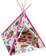 WUHUAROU Pet Teepee Kitten Tent Wood Stand