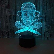 WULDOP Gifts 3D Lamp Kids Skull hat Knife 3D Light