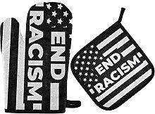 wusond Black Lives Matter Non-Slip Oven Gloves And