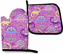 wusond Folk Art Dinosaurs Pink U Purple Dark Oven