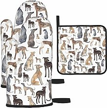 wusond Oven Mitts and Pot Holders Set,Greyhounds