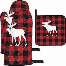 wusond Oven Mitts and Pot Holders Set,Red Buffalo