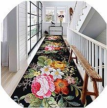 WUZMING Hallway Runner Flower Pattern Washable Do