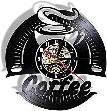 Wwbqcl Coffee Vinyl Wall Clock Modern Design