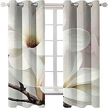 WWJNF Blackout Curtains 59 X 66 Inch White Flowers
