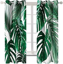 WWJNF Blackout Curtains 86.6 X 84.2 Inch Green