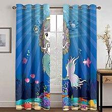 WWJNF Blackout Curtains 86.6 X 84.2 Inch Mermaid