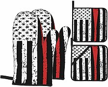 WXM Union Jack Oven Mitts and Pot Holders Set 4PCS