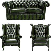 Wyaconda Chesterfield 3 Piece Leather Sofa Set