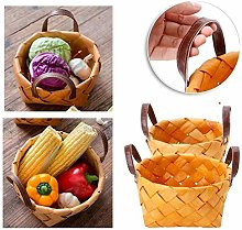 WYB hand-woven round hand-held fruit basket Bread
