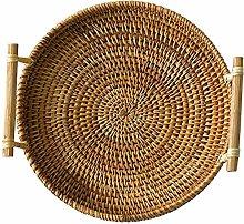WYB Rattan Bread Basket Round Woven Tea Tray With
