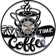 WYDSFWL wall clock Retro Decor 3D Coffee Shop