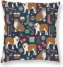 WYFKYMXX Christmas Pillow Cover English Bulldogs