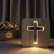 WYPG Cute USB Power Cross Wood 3D Night Light