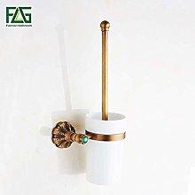 WYRKYP Toilet Brushes,Antique Brass Toilet Brush