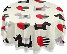 WYYWCY Round Festive Tablecloth Scottie Dog