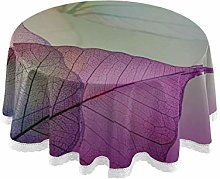 WYYWCY Round Patio Picnic Table Cover Leaves Mauve