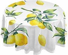 WYYWCY Round Print Tablecloth A Seamless Lemon On