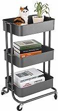 WZF Storage Rack 3 Tier Cart Slim Wheeled Cart for