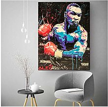 wzgsffs Boxing Mike Tyson Abstract Wall Art Canvas