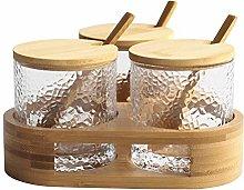 WZHZJ Round Glass Seasoning Jar Triangle Spice