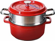 WZHZJ Steamer Cast Iron Enamel Pot Soup Pot